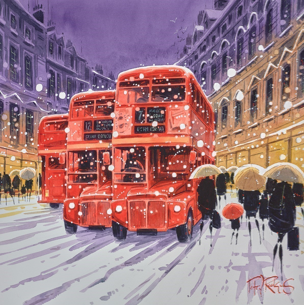 Snowfall by Peter J Rodgers -  sized 16x16 inches. Available from Whitewall Galleries